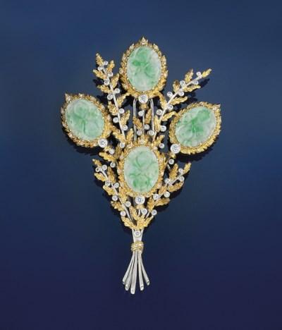 A jadeite and diamond brooch,
