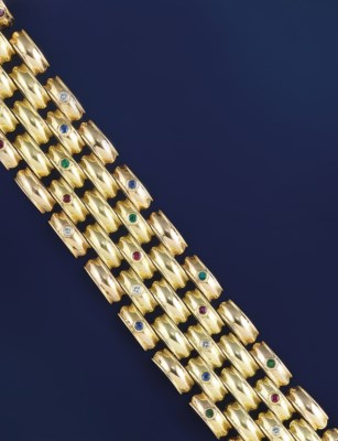 A diamond and gem-set two colo
