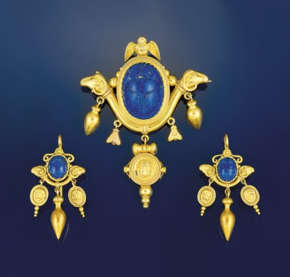 A 19th century gold and lapis