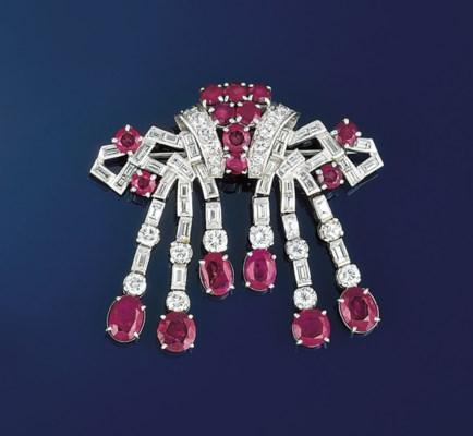 An art deco diamond and ruby t