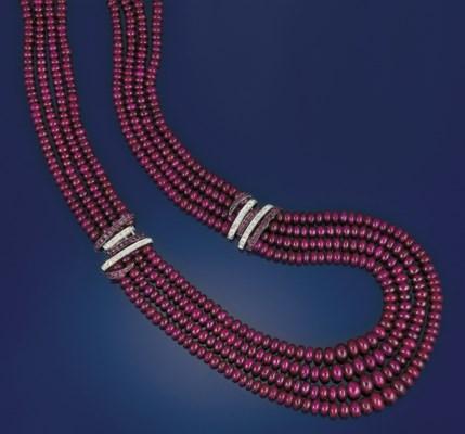 A ruby, diamond and gem neckla