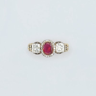 A Victorian ruby and diamond t