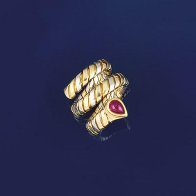 A ruby set tubogas ring, by Bu
