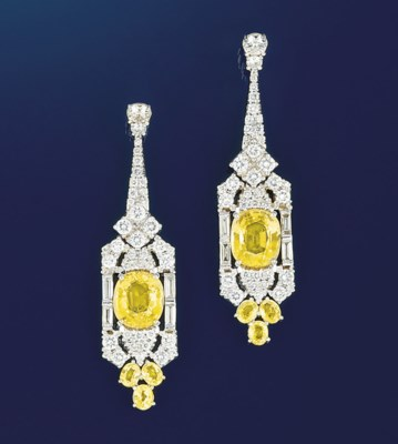 A pair of diamond and yellow s