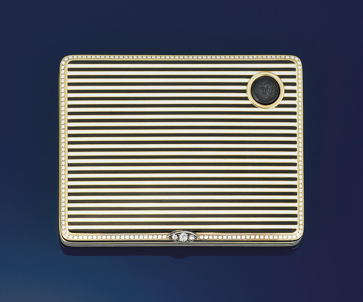An Art Deco gold, enamel and d