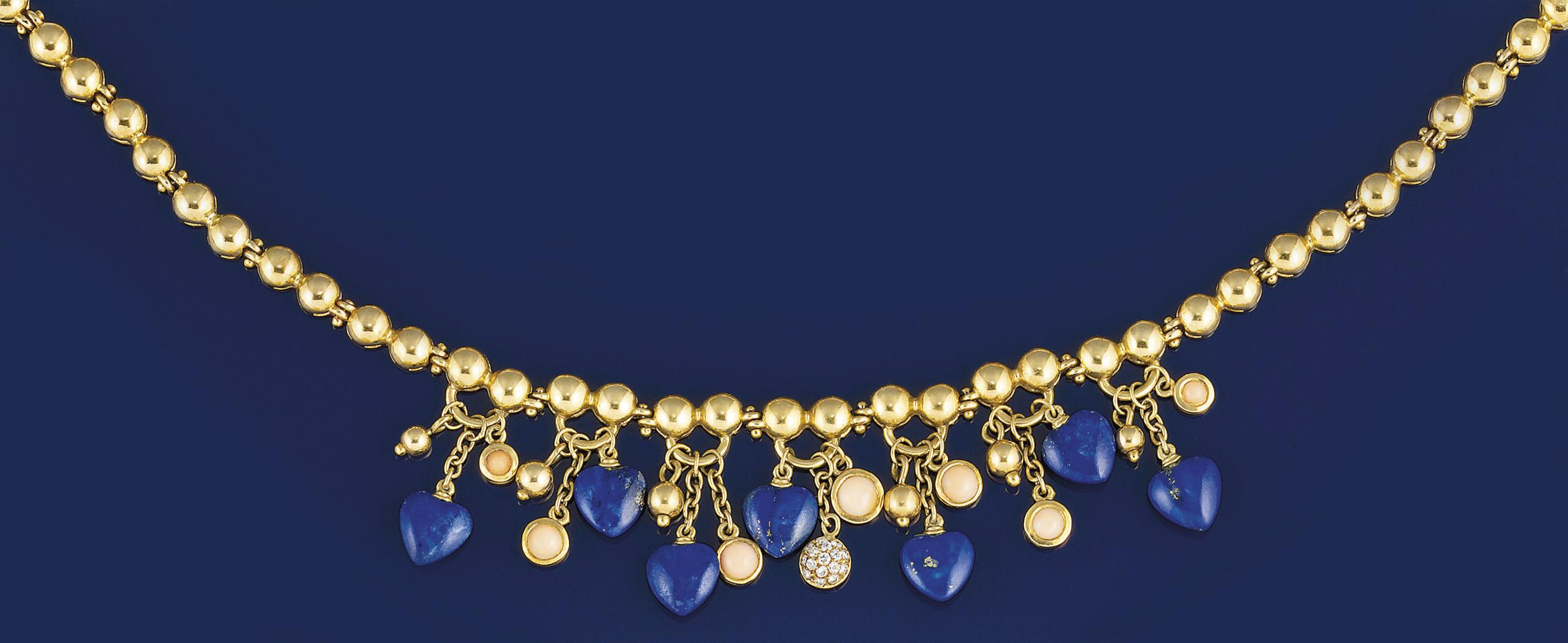 A lapis lazuli, coral, and dia