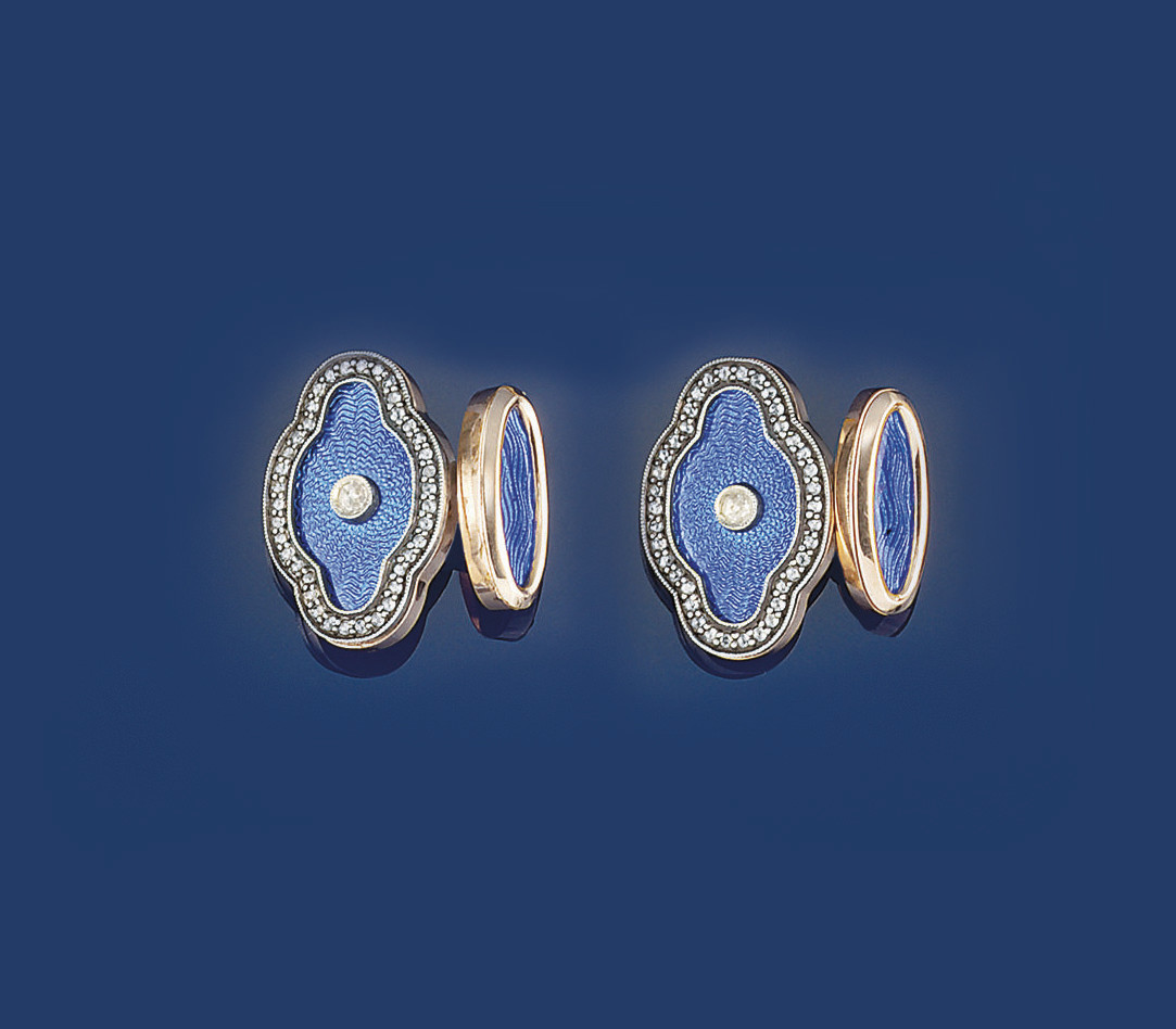 A pair of diamond and enamel c
