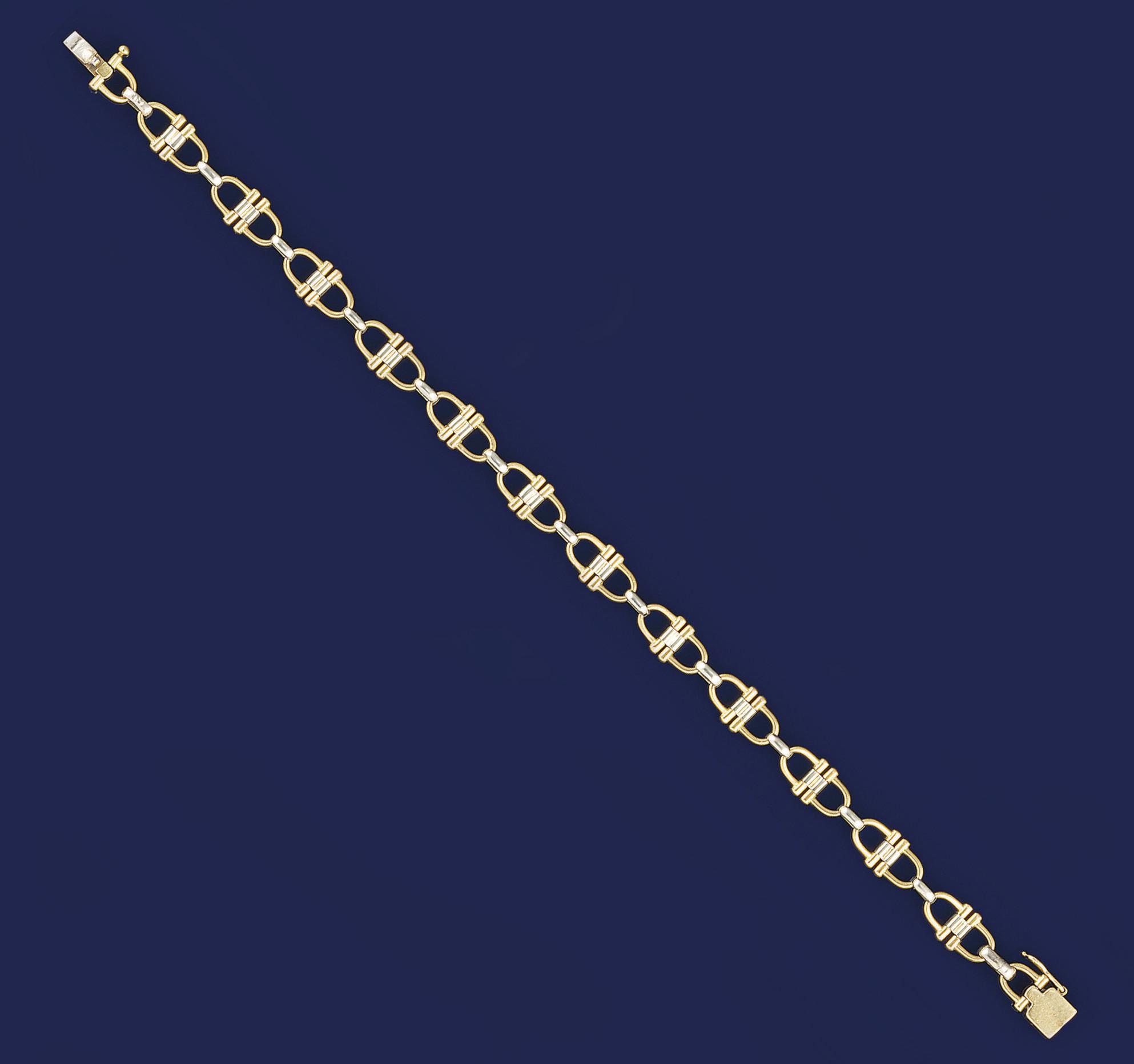 An 18ct. two colour gold brace