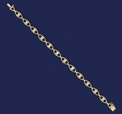 An 18ct. two colour gold brace