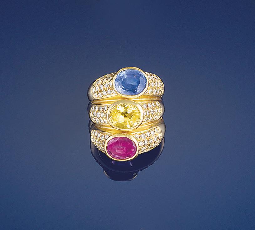 A diamond and vari-coloured sa