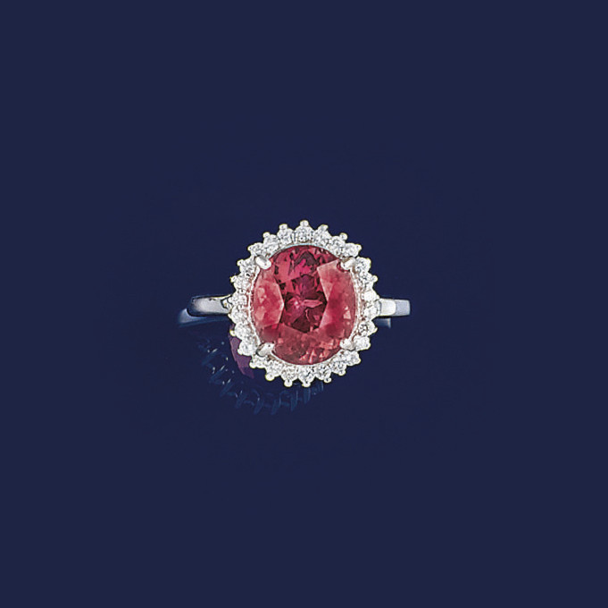 A pink tourmaline and diamond