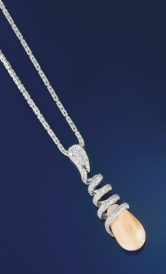 A coral and diamond pendant ne