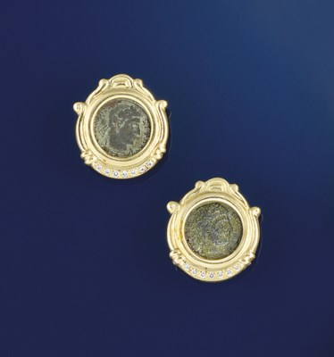 A pair of earclips, by Bulgari