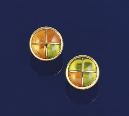 A pair of 18ct. gold fire opal