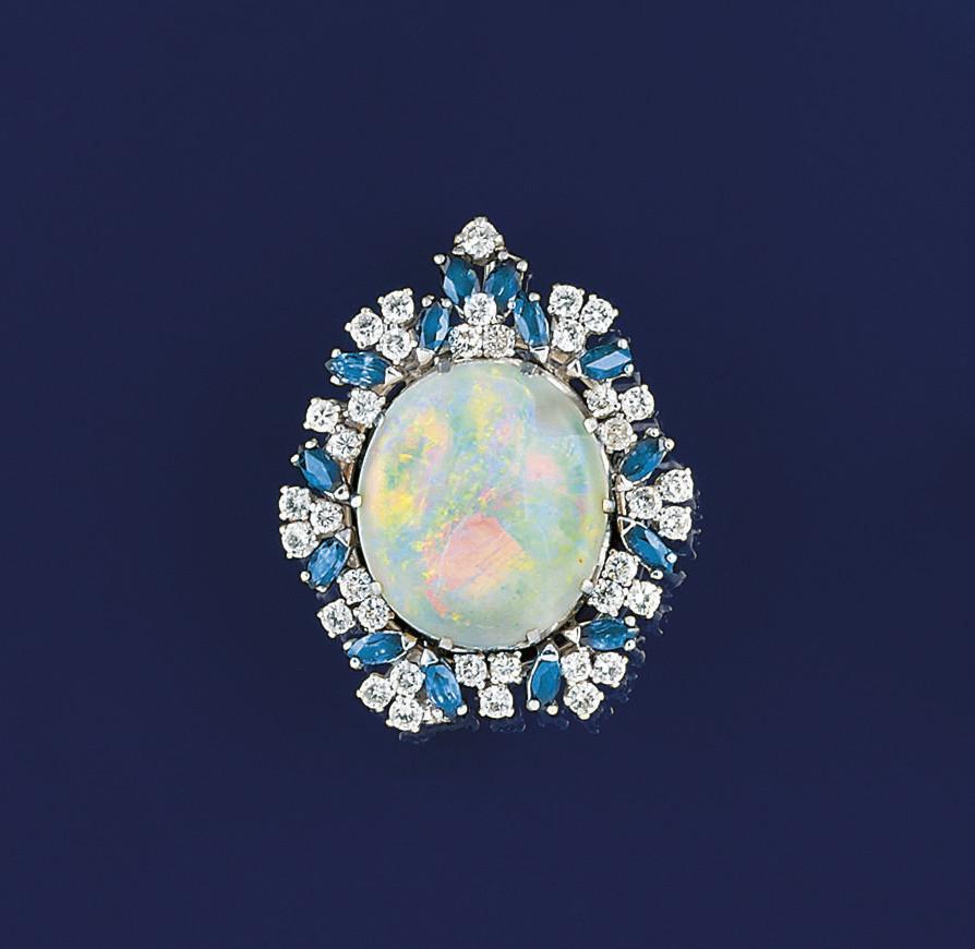 An opal, sapphire and diamond
