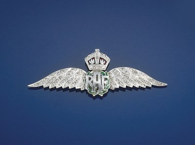 A diamond and enamel RAF brooc