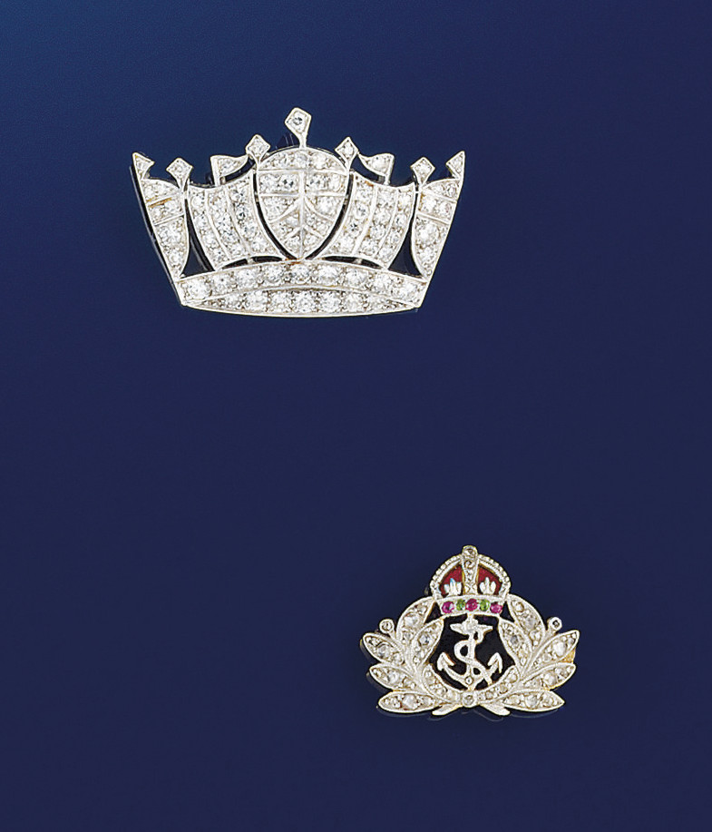 A pair of Royal Navy brooches