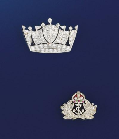 A pair of Royal Navy brooches