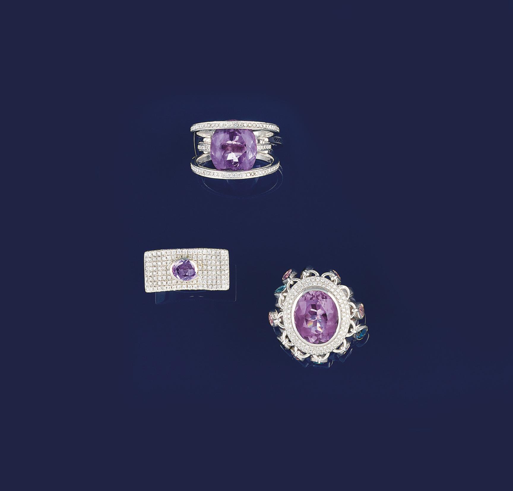 Three amethyst and diamond rin