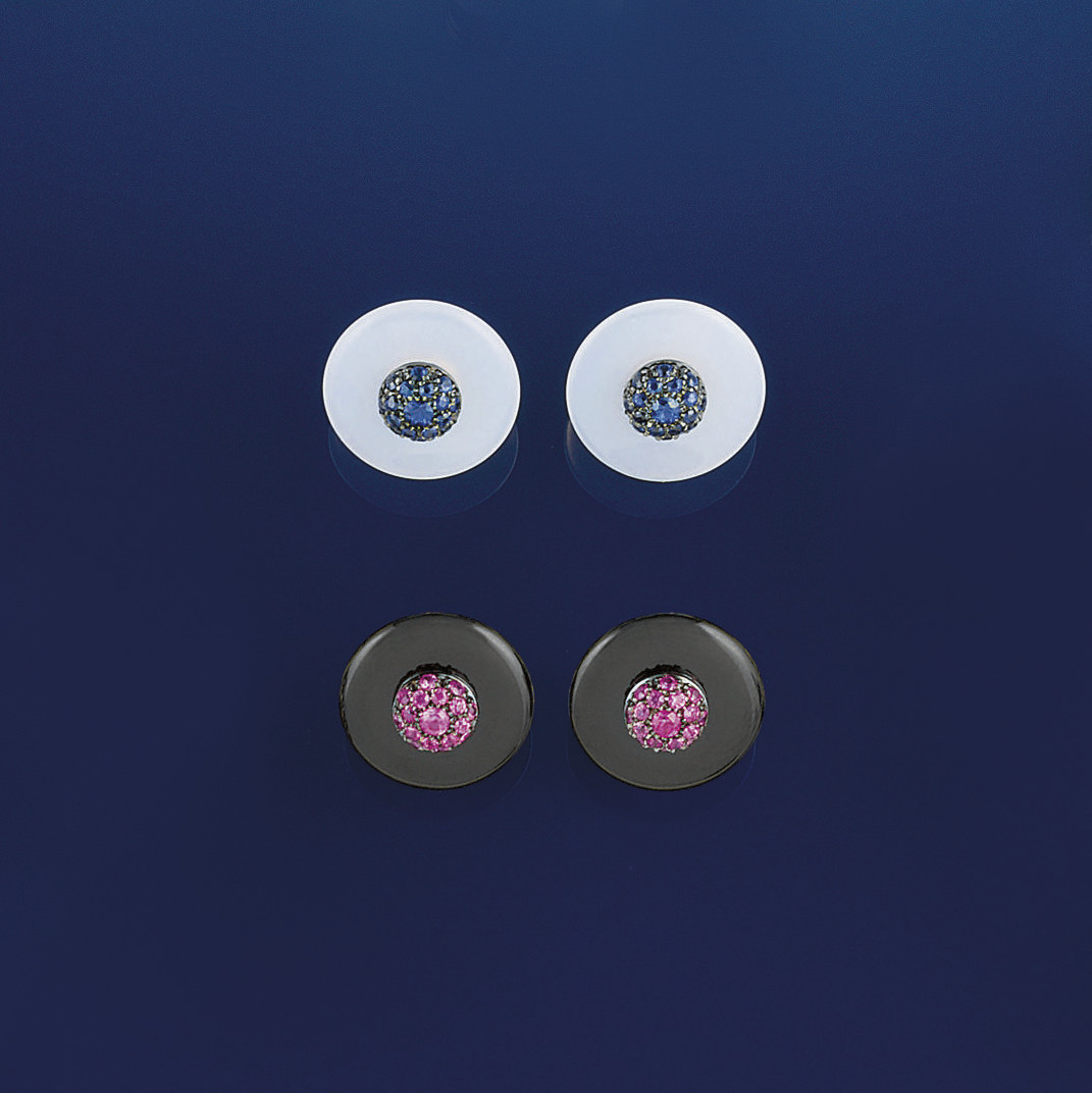 Two pairs of gem cufflinks, by
