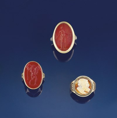 Two antique intaglio rings and
