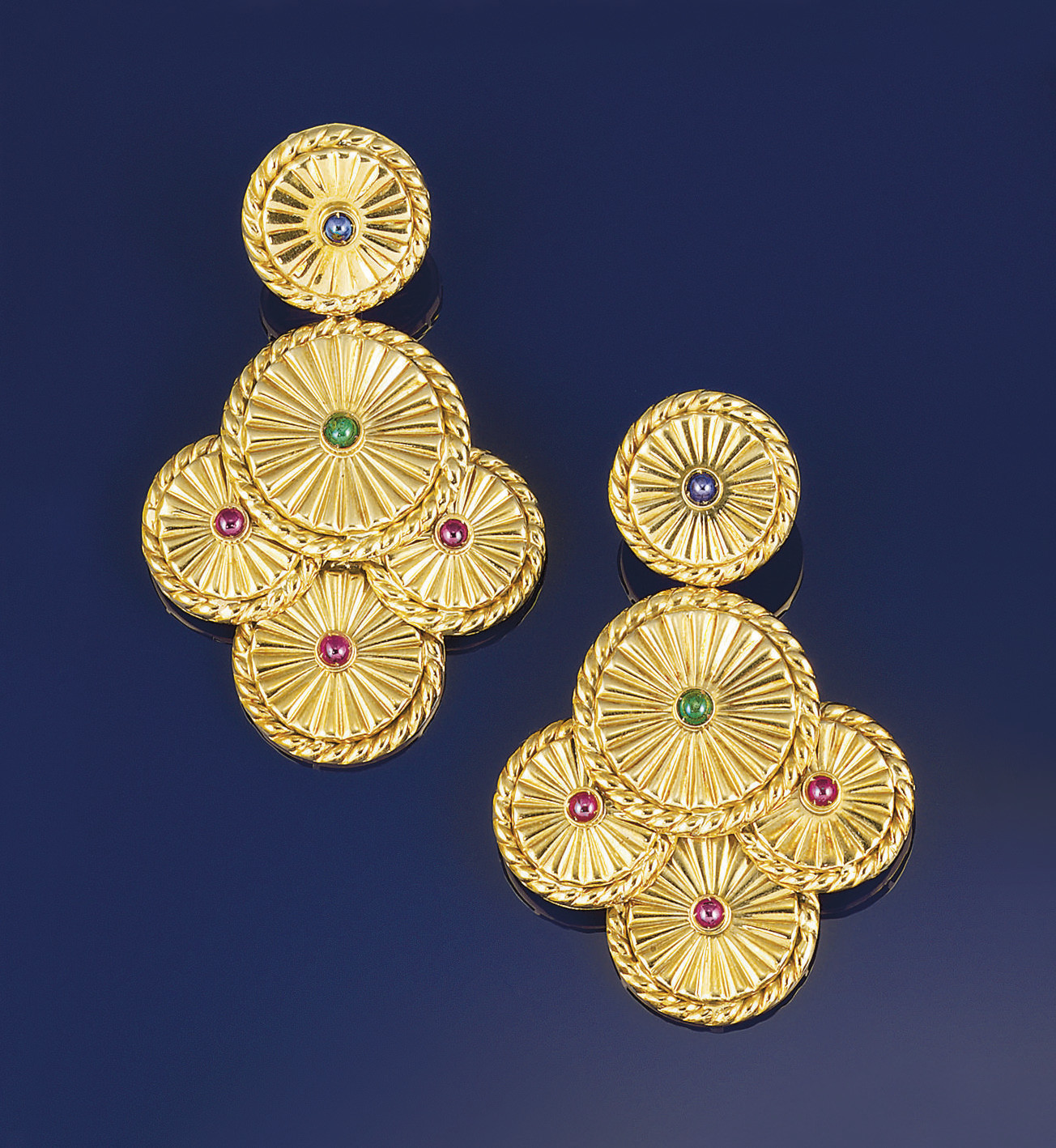 A pair of gem earpendants, by