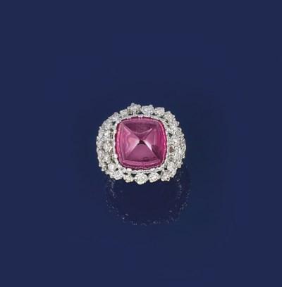 A pink tourmaline and diamond