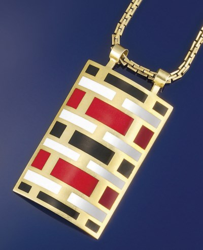 An enamelled pendant, by Carti