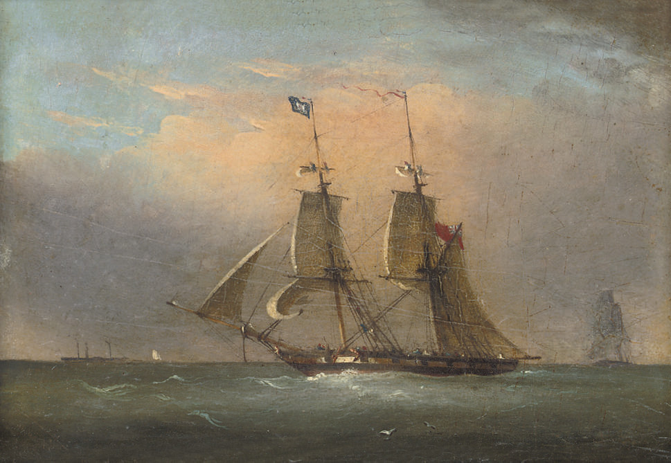 A packet in the Channel (illustrated); and A Royal Naval two-decker running inshore