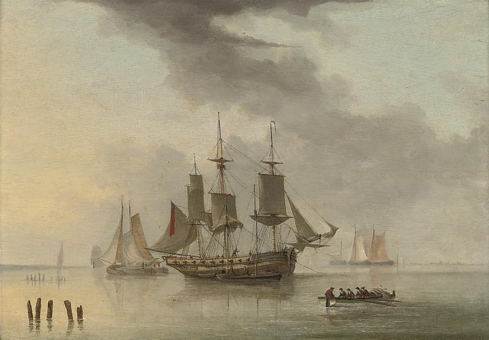 An armed merchantman at anchor in a calm