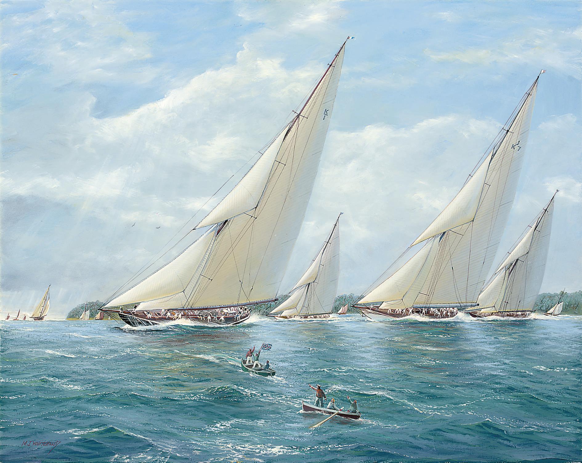 Britannia leading the fleet to windward
