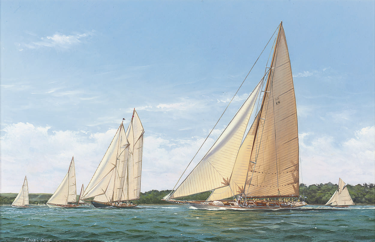 Cambria and Mariette racing in the Solent
