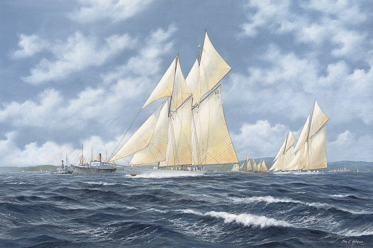 The schooner yacht Germania leading the fleet