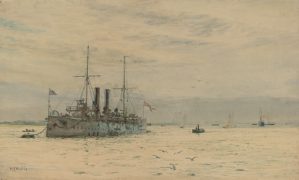 A Royal Navy armoured-cruiser lying on her mooring