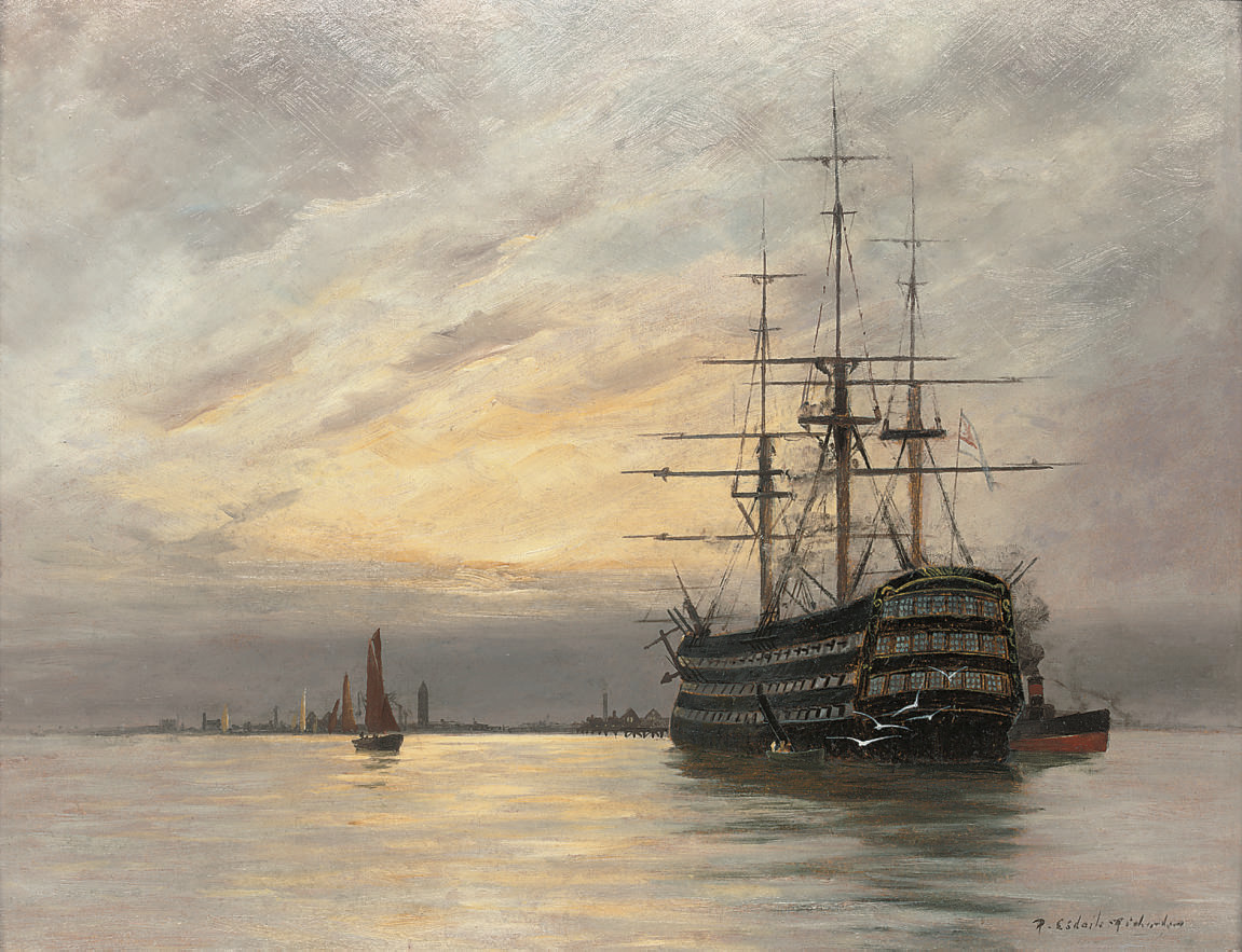 A training ship lying in the river