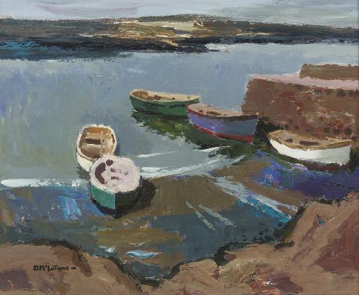 Five Boats Calm Sea