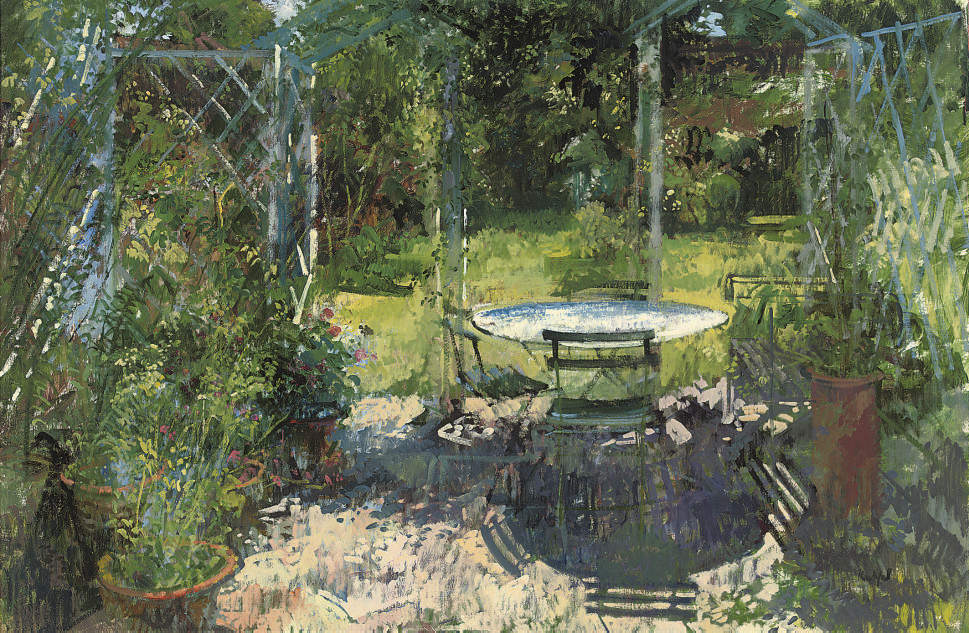 Table and chairs in the shade