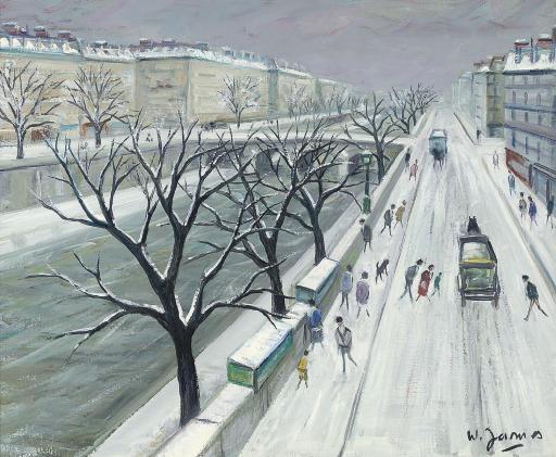 La Seine sous la neige au Pont Marie