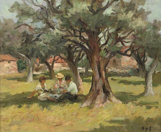 Pique-nique sous les oliviers du jardin de Renoir à Cagnes