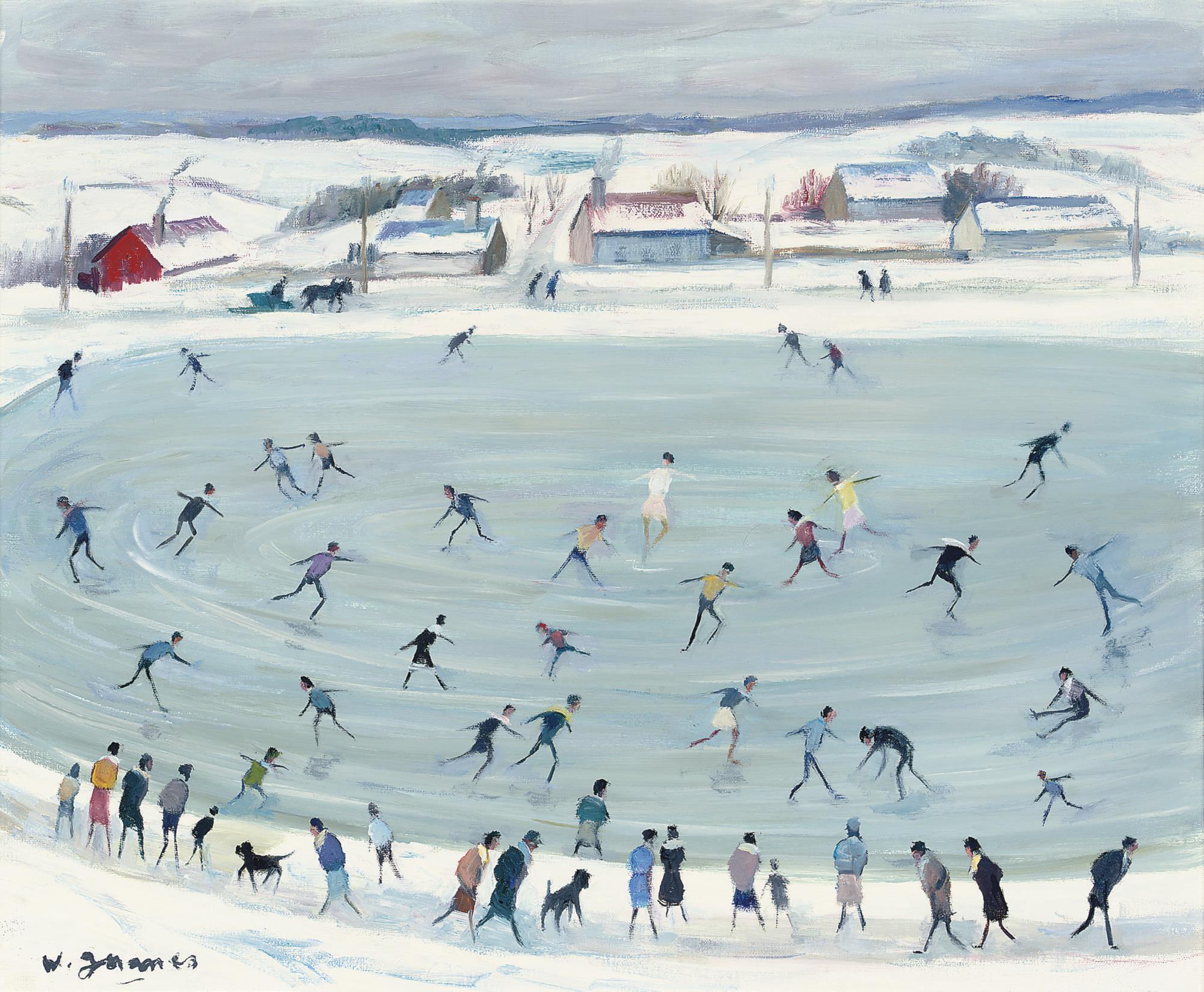 Les patineurs sur l'étang gelé