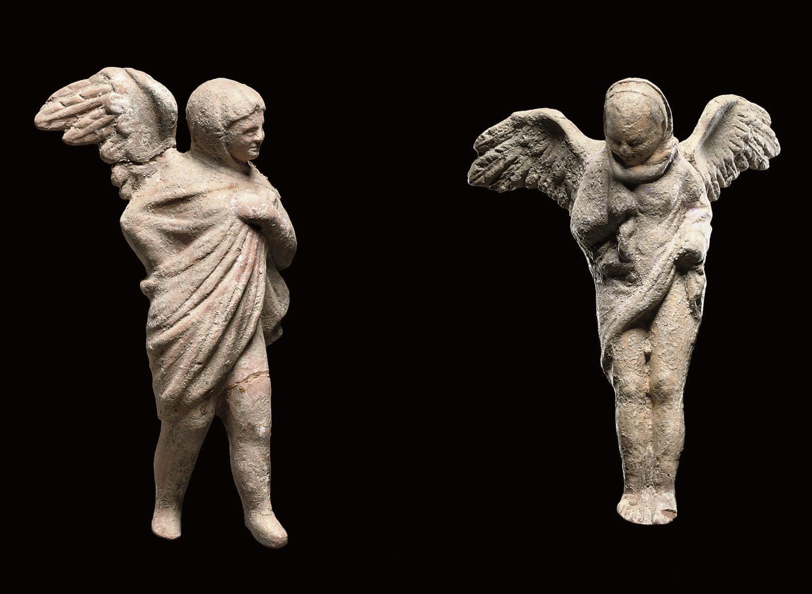 TWO GREEK TERRACOTTA STATUETTE
