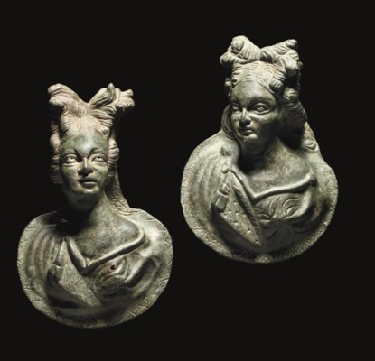 TWO ROMAN BRONZE APPLIQUÉS