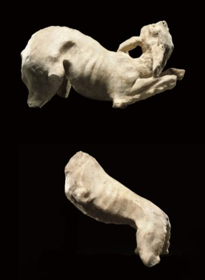 TWO ROMAN FRAGMENTARY MARBLE F