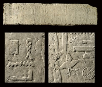 AN EGYPTIAN LIMESTONE RELIEF O