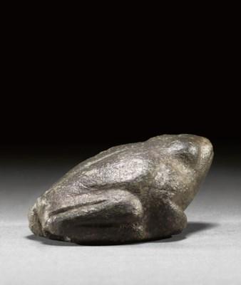 AN EGYPTIAN BLACK STONE FROG
