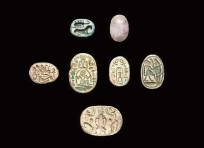 AN EGYPTIAN AMETHYST SCARAB AN