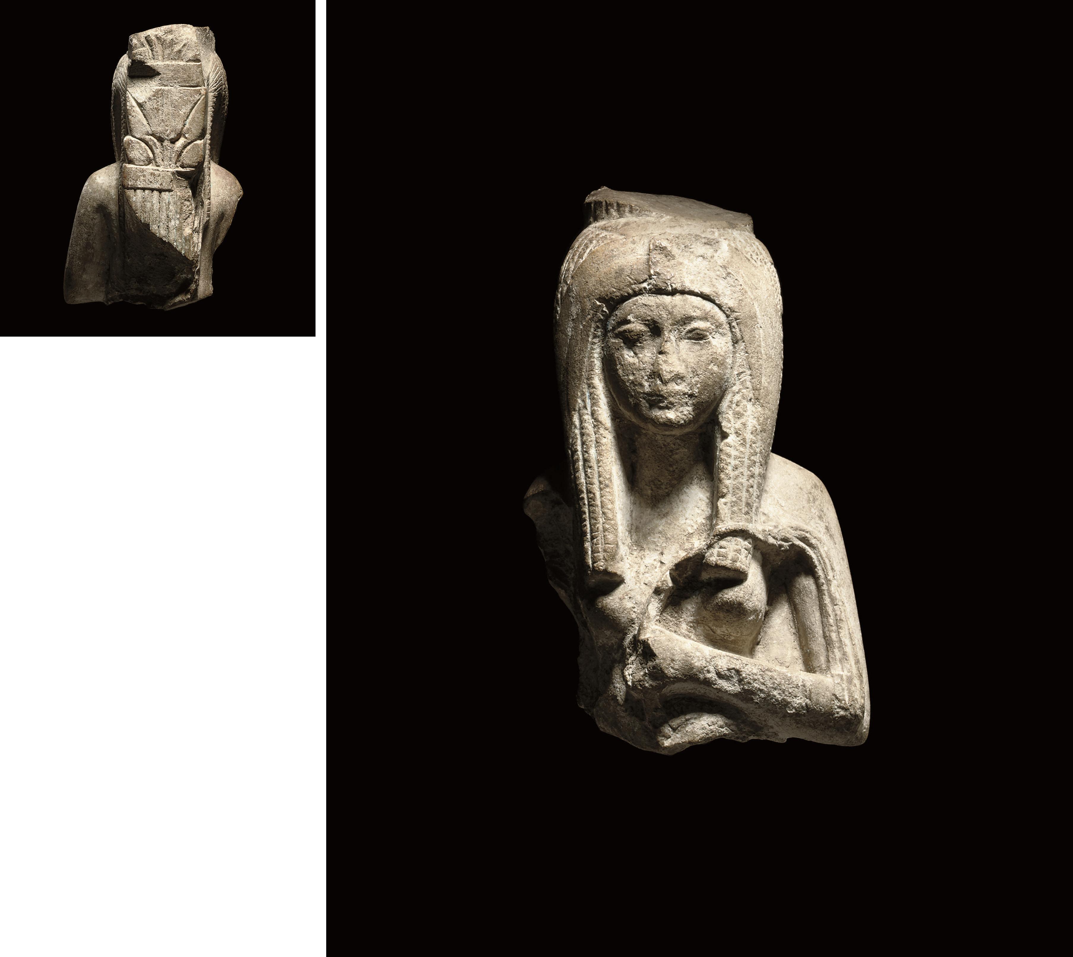 AN EGYPTIAN LIMESTONE BUST OF