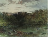 A wooded river landscape at sunset