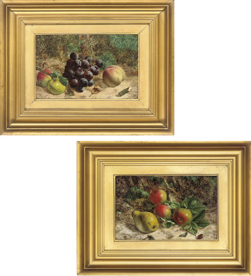 Apples and a pear on a mossy bank; and Apples and grapes on a mossy bank
