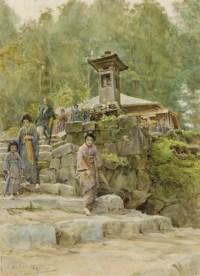 Japanese figures leaving a shrine